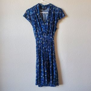 French Connection Womans Blue Floral V-neck Dress